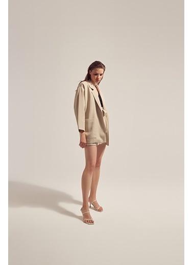 Monamoda Keten Kumaşlı Oversize Ceket Bej